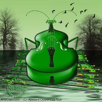 Artwork >> Abelard Ouvert La Nuit >> The green grasshopper #artwork,  #masterpiece, #green, #grasshopper
