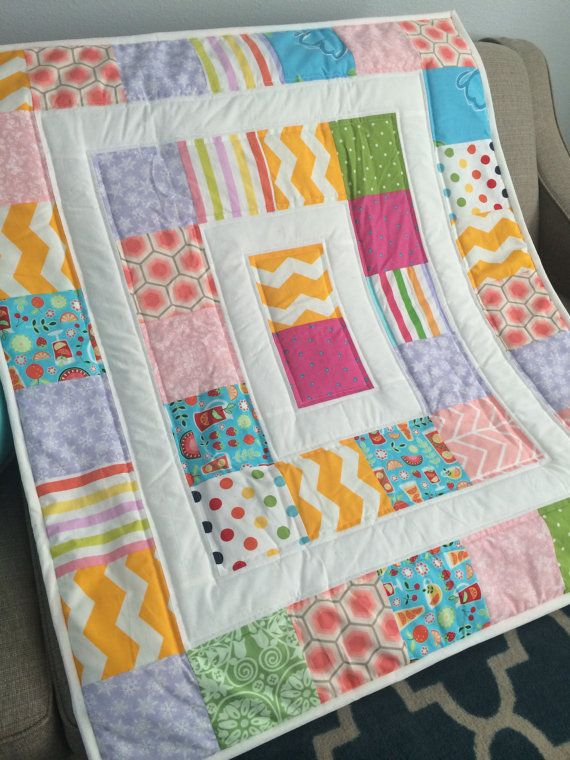 Ready to ship modern baby quilt mat for baby car от irynascrafts
