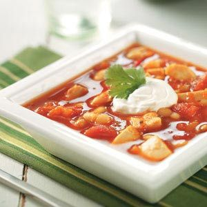 Slow Cooker Spicy Turkey Bean Soup:  4 servings; 322 calories, 5 g fat, 55 mg cholesterol, 37 g carbohydrate, 9 g fiber, 30 g protein per (1-1/2 cups) serving