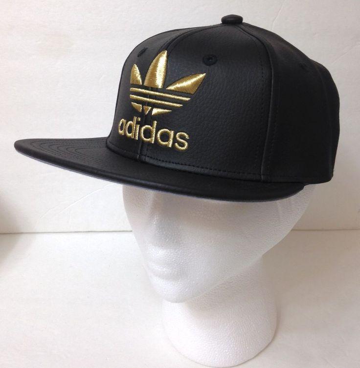 new YOUTH boy/girl/kid ADIDAS SNAPBACK HAT Black Leather Look SHINY GOLD trefoil #adidas #BaseballCap