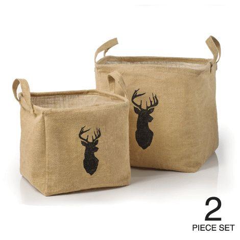 Set of 2 Reindeer Silhouette Design Burlap Baskets reg.  $28.00 Product Number  1021240 Set of 2 burlap baskets with handles and stay-open, rigid tops. www.Facebook.com/shopavonwithdeon