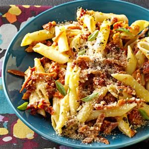 Pepperoni Penne Carbonara Recipe -Sun-dried tomatoes and turkey pepperoni lend fantastic flavor to this creamy, hearty pasta dish. It's a great change of pace from everyday spaghetti. —Taste of Home Test Kitchen