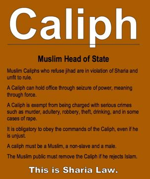 Caliph: Muslim head of state. This is Sharia Law. || Radical group Hizb-ut-tahrir advocates a global caliphate, and believed in 2009 that Europe was already overtaken and that the United States was the only country left to be conquered. http://www.youtube.com/watch?v=n7WuewYp6hs