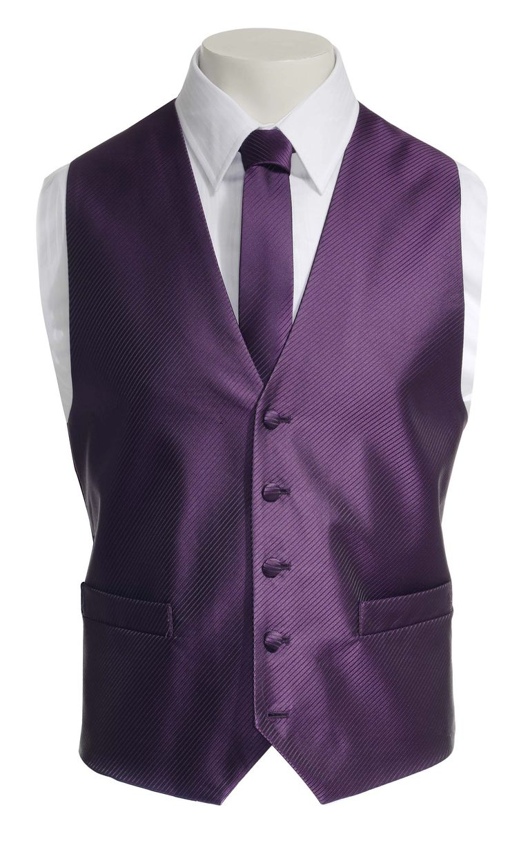Mens Waistcoat and Tie by Ventuno in purple twill stripe