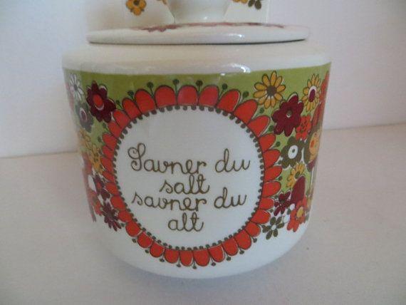 Vintage Figgjo Flint Turi design Folklore zoutpot. door kunstmus