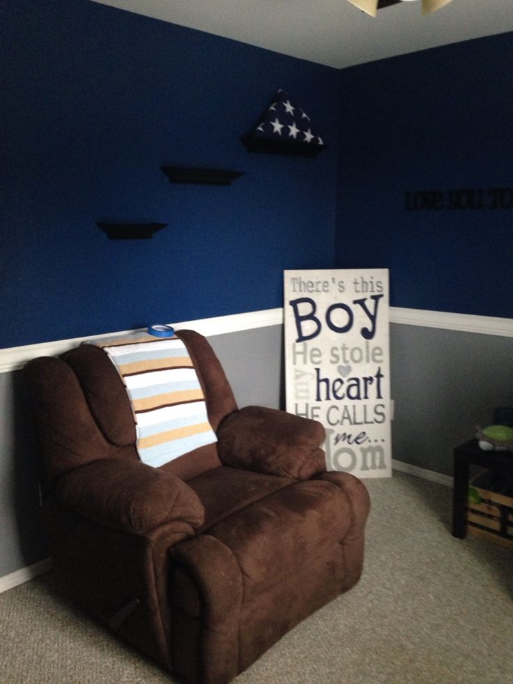 Baby Boy Nursery Navy Blue And Light Gray With White Trim