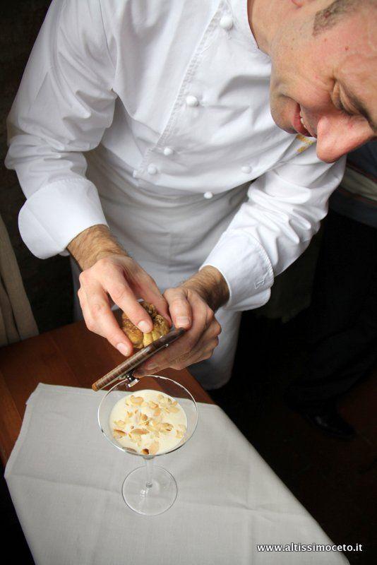 Chef Alessandro Boglione at the restaurant AL CASTELLO One Star Michelin in the castle of Grinzane Cavour (Piedmont)