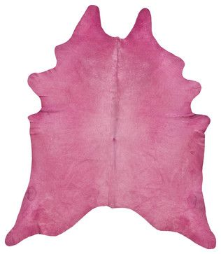 Hot Pink Dyed Cowhide Rug - L contemporary-rugs