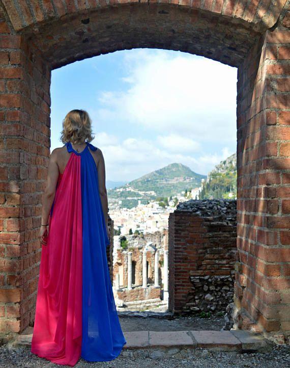 Royal Blue and Pink Summer Dress Extravagant Flared Summer
