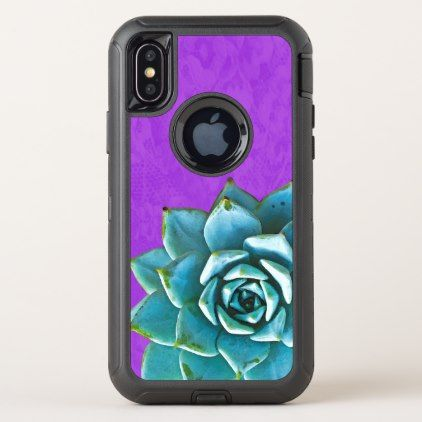 Succulent Watercolor Purple Lace OtterBox Defender iPhone X Case - lace gifts style diy unique special ideas