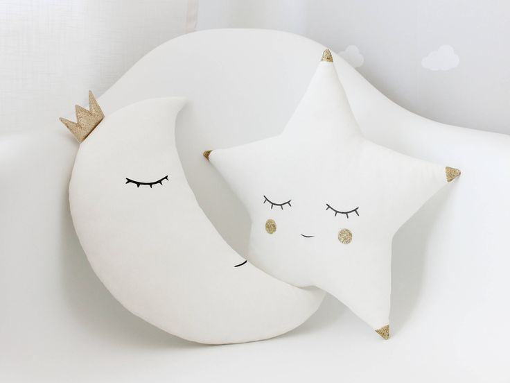 Set Of White Moon Pillow and White Star Pillow With A Little Gold Touch, Gold Pillows, White Pillows, Baby Pillows, Kids Pillows, Baby Gift. by ProstoConcept on Etsy