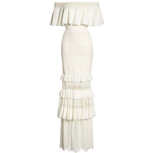 Women's Tadashi Shoji Off The Shoulder Crochet Gown (€620) ❤ liked on Polyvore featuring dresses, gowns, white evening dresses, white off shoulder dress, off the shoulder ruffle dress, white evening gowns and white crochet dresses