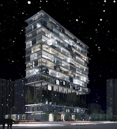 Rather than design a run-of-the-mill skyscraper for a new hotel in Xian, China, architects 3Gatti decided to put lots of smaller buildings on a gigantic set of shelves.