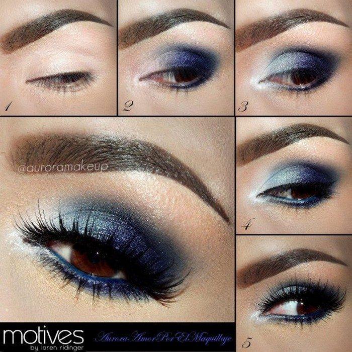 Идеи макияжа, которые выгодно подчеркнут карие глаза / 2. Глубокий синий – классический, но эффектный выбор для темноглазых