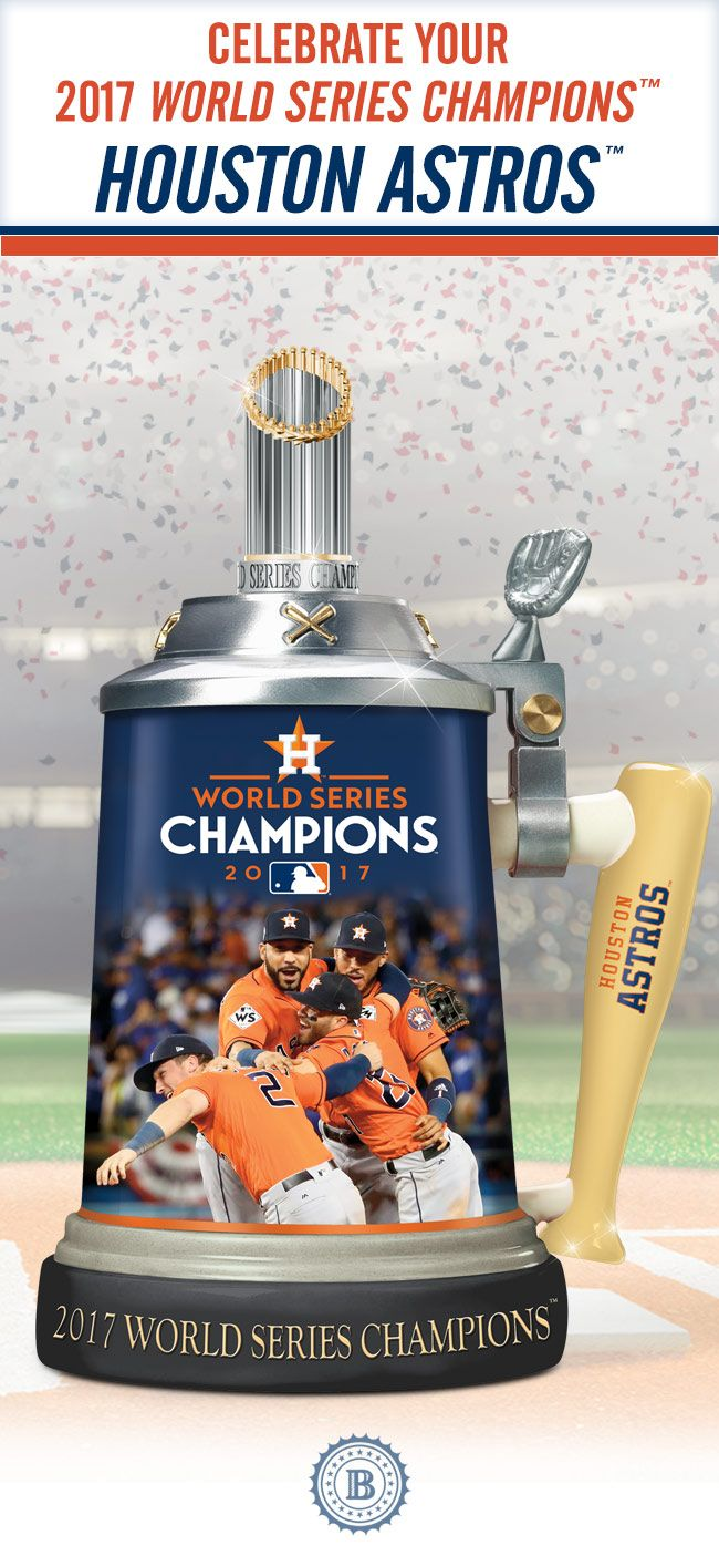 "Raise a toast to your 2017 World Series Champions™, the Houston Astros™! This commemorative porcelain stein showcases exciting game images, a ""bat"" handle, a trophy topper and is loaded with iconic Astros™ logos and colors. Offered in a strict limited edition of 10,000!"