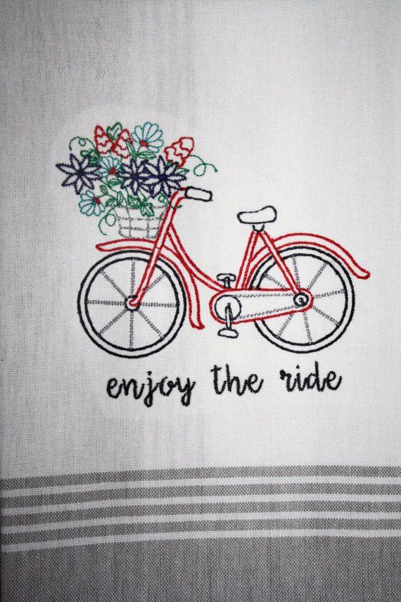 vintage bike decor~ kitchen tea towel~ bike kitchen towel~ enjoy the ride ~ bike with flowers