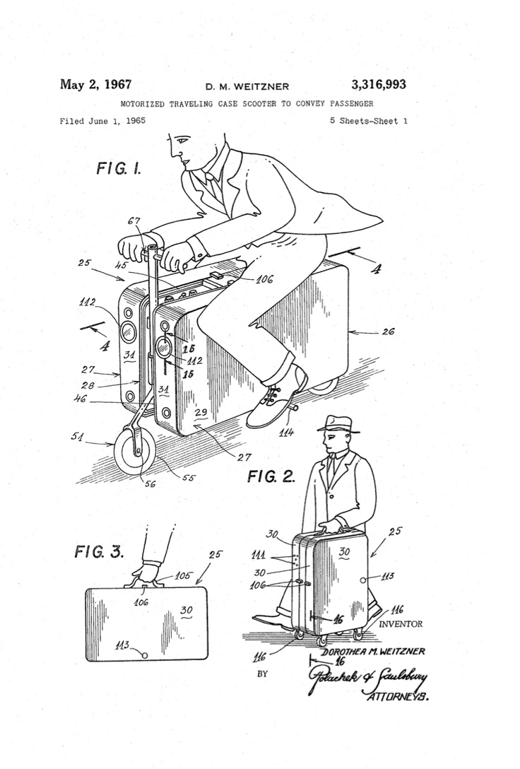 Patent for motorized suitcase 1967