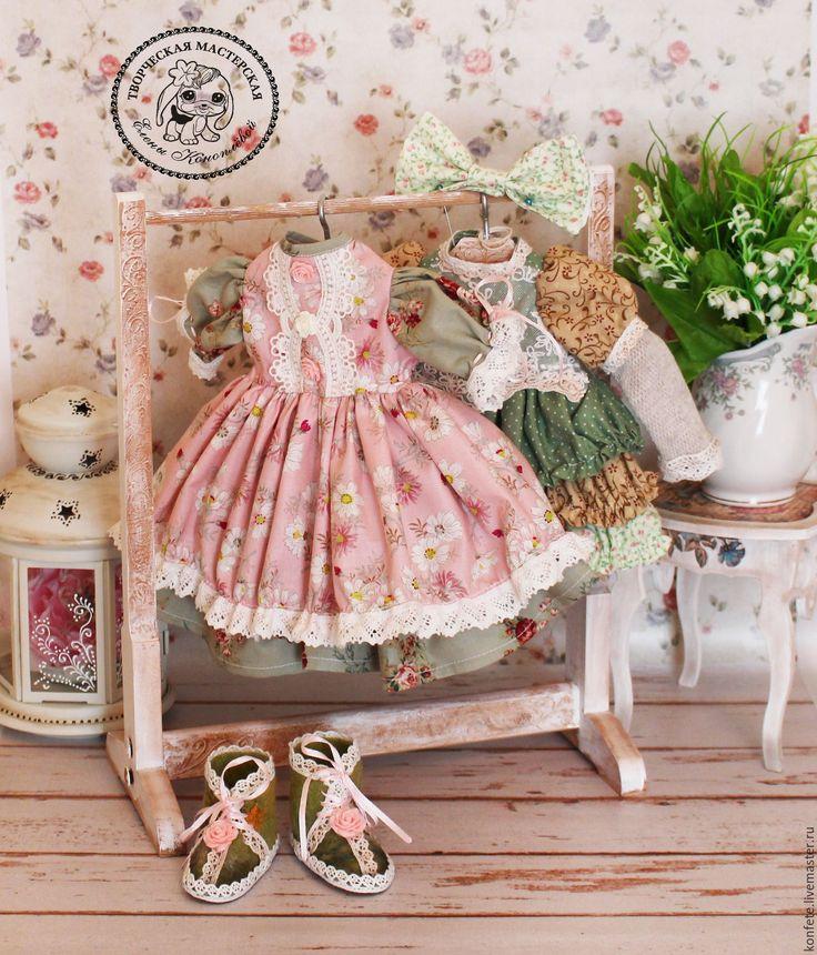 Купить Одежда для кукол. Комплект одежды бохо, шебби шик - бледно-розовый, одежда для кукол