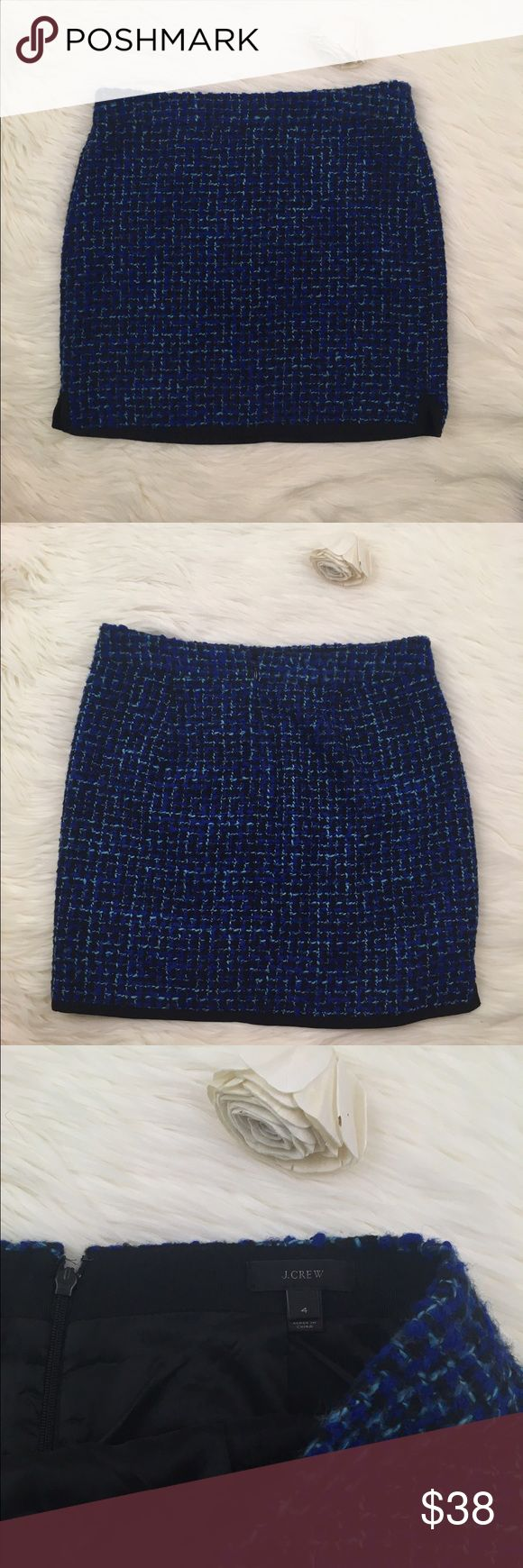 Blue lined J.Crew Twill Skirt J.Crew Tweed/ Twill skirt with black piping/ edging and inner lining. Zip up back and tiny slits on the edge of the skirt. Vibrant Royal blue color! J. Crew Skirts Mini