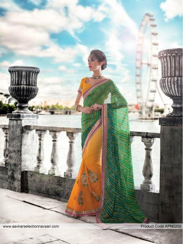 Yellow Green Sari