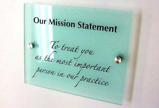 Create a small display piece for your office mission statement.