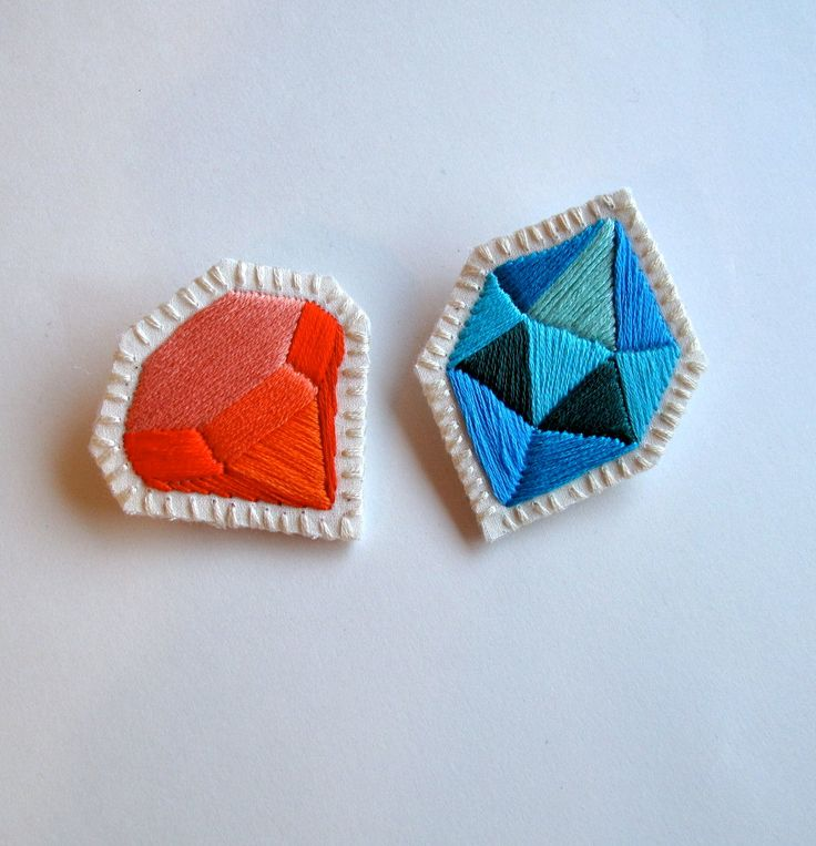Geometric gem brooch set hand embroidered in blues and oranges perfect for Valentine's Day. $40.00, via Etsy.