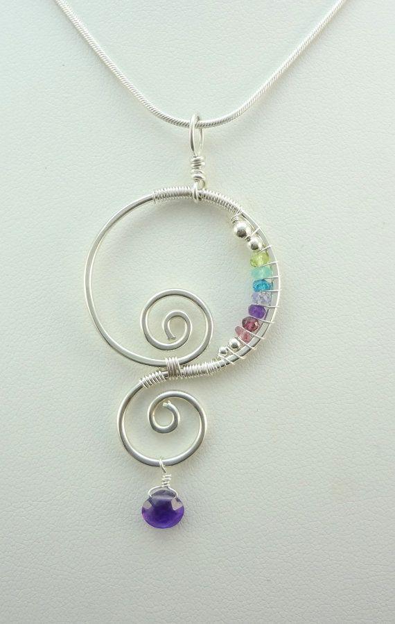 Rainbow Gemstone Spiral of Life Sterling by TwistedBlissDesigns, $45.00