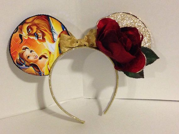 Beauty and the Beast inspired Mickey Mouse ears (the rose is a great touch!) on my favorite Etsy store. https://www.etsy.com/listing/219967571/beauty-and-the-beast-inspired-mickey?ref=listing-shop-header-1