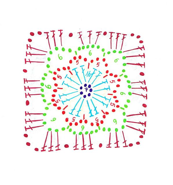 Lacy square free crochet pattern