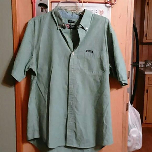 Men short sleeve CHAPS shirt Men short sleeve green button down collar Chaps shirt Chaps Shirts Tees - Short Sleeve