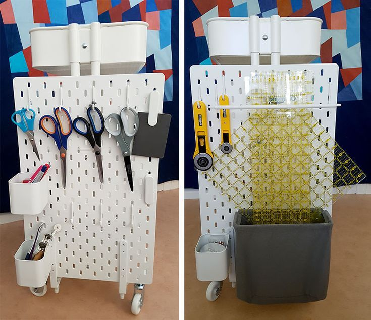 Ikea Hack How To Create A Mobile Pegboard Storage Unit From The Raskog Cart And Skadis Pegboard Sewing Rooms Craft Room Organization Peg Board