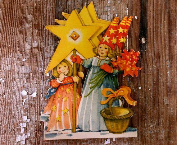 Vintage Christmas Sweden St. Lucia Die Cut Paper Garland Angel Swedish