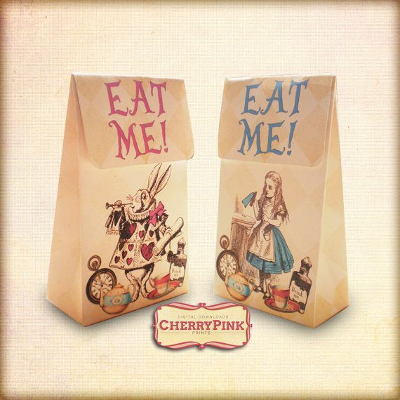 ALICE FAVOR BAG Alice in Wonderland party decoration, shabby chic arrows, perfect for Alice wedding and parties. on Etsy, £3.75