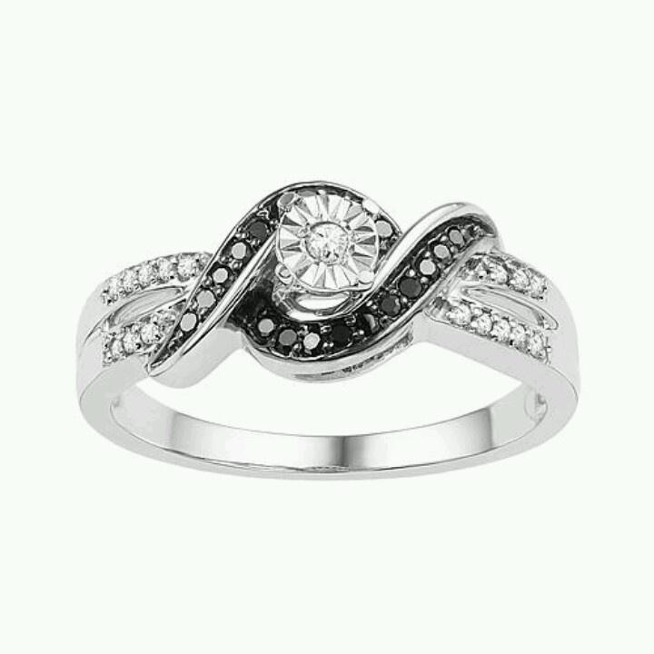 Black And White Diamond Promise Ring