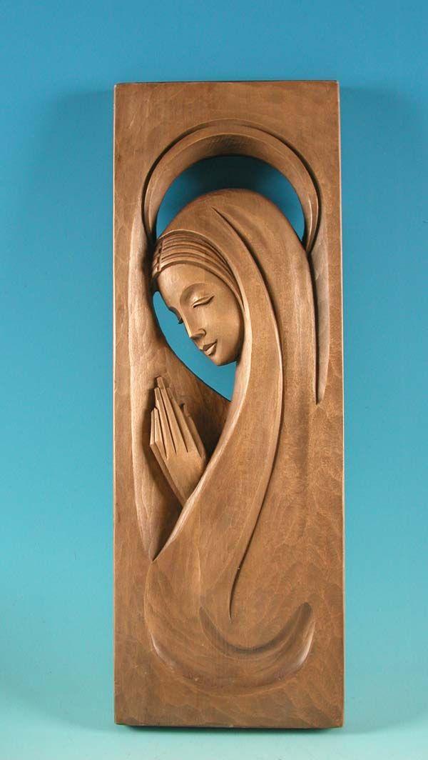 Preciosa !!!! Virgen . Relieve tallado en madera con 55 cm !!!!!!!