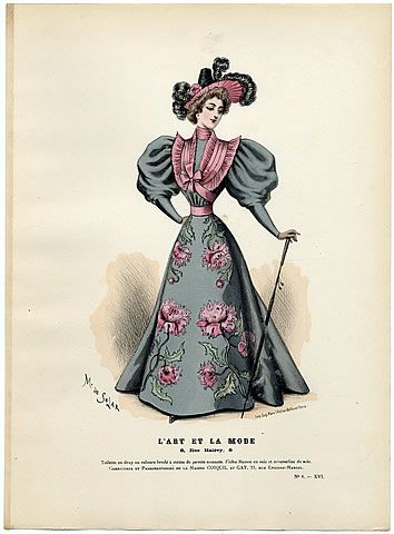 L'Art et la Mode 1895 N°06 Marie de Solar Hand colored plate