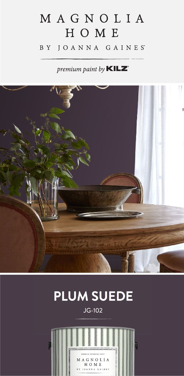 A dark shade of purple, Plum Suede from the Magnolia Home by Joanna Gaines® Paint collection is a bold pop of color in this traditional dining room. This jewel tone color would look beautiful in any design style in your home. Click below for more color details.