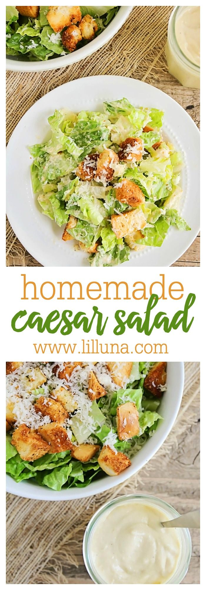Delicious Homemade Caesar Salad with Homemade Croutons recipe on { lilluna.com }. Very easy and the prefect side salad.