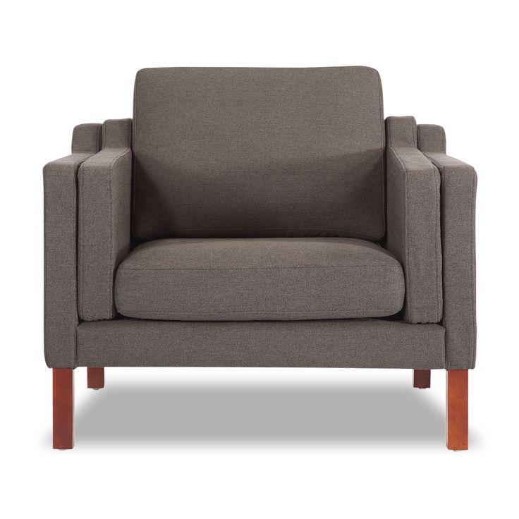Monroe Mid-century Modern Armchair, Chevron Flax Twill |