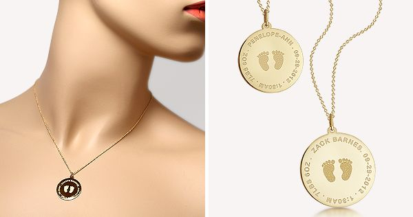 Custom engraved baby footprint charm necklace in 14k gold from Shimmer & Stone : http://www.shimmerandstone.com/gold-footprint-disc-charm-necklace.html
