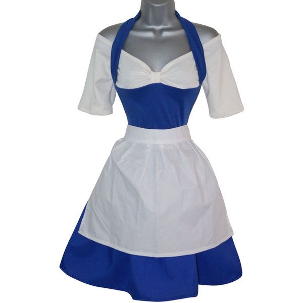 Adult Princess Belle Blue Provincial Dress Costume Beauty & The Beast... ($56) ❤ liked on Polyvore featuring costumes, party halloween costumes, womens princess costume, stitch costume, adult costume and womens costumes