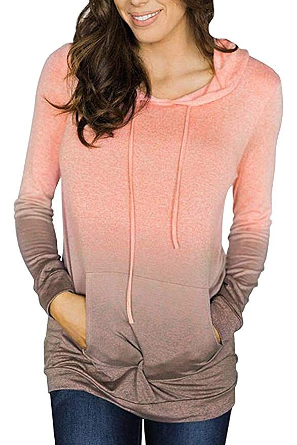 c30e0337 AMiERY Women's Fashion Pullover Comfy Long Sleeve Hoodies Loose Casual Tops Coat  Sweatshirts Outwear * For