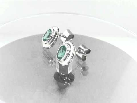 Emerald earrings in 18K white gold E-CNI-142 with oval shape natural Colombian emeralds by www.GreenInGold.com #emeralds #earrings