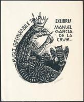 Oriol Maria Divi (1924-2013): Ex libris Manuel Garcia de la Luz. Fametszet, papír, jelzett a dúcon, 10×9 cm