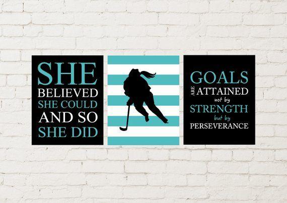 Ice Hockey Wall Art Ice Hockey Girl Girls Wall Art Sports Etsy Hockey Wall Art Girls Wall Art Sports Wall Art