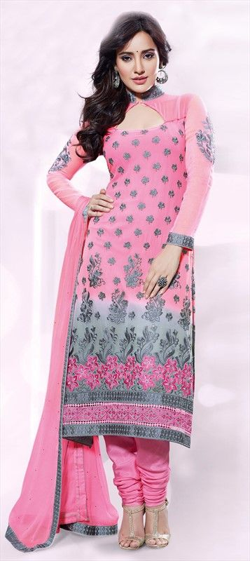 409956, Party Wear Salwar Kameez, Bollywood Salwar Kameez, Georgette, Machine Embroidery, Resham, Stone, Zari, Border, Thread, Lace, Pink and Majenta Color Family