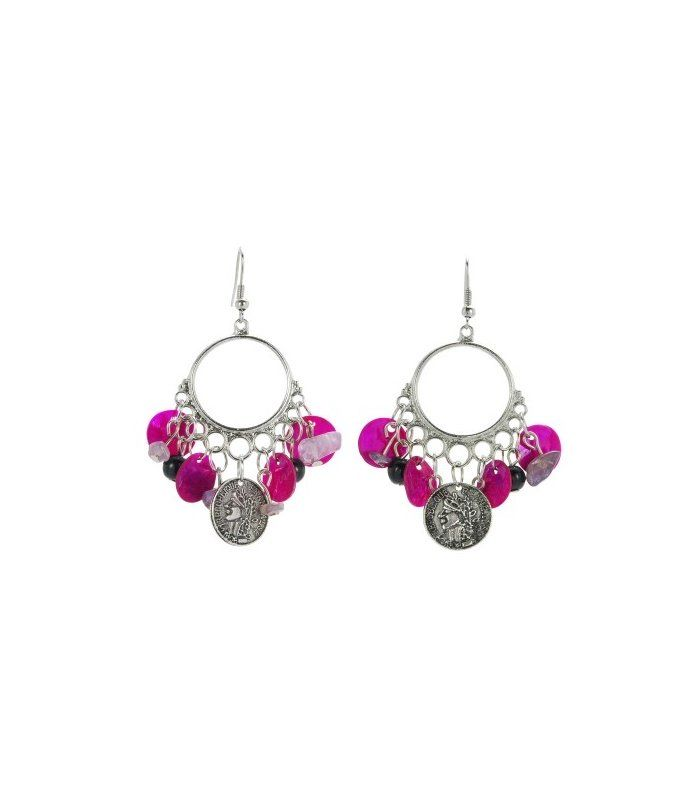 Paarse parelmoer plaatjes oorbellen | Mooie fuchsia roze / paarse oorbellen | De lengte van deze oorbel is inclusief haakje 7 cm. | EAN: 0000072580509