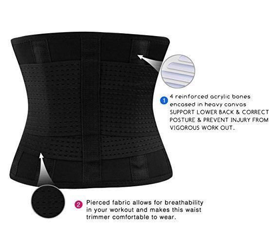 21c5b62a0d Amazon.com  Fitglam Best Waist Trimmer   Trainer Ab Belt Girdle Hourglass Body  Shaper  Clothing