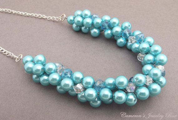 Klobige blaue Perlenkette Brautjungfer Statement Necklace