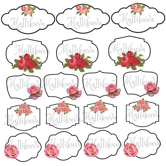 Printable rose labels by ZaraTreasures on Etsy